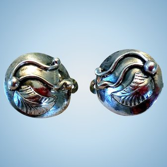 Vintage Sterling Silver Earrings with Applied Figures