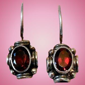 Sterling Silver & Garnet Earrings, Vintage