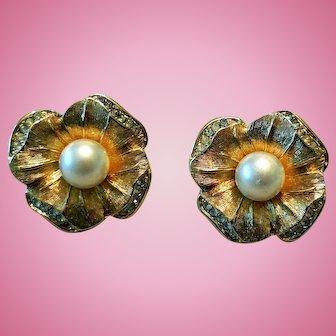 Vintage Christian Dior Floral & Rhinestone Earrings
