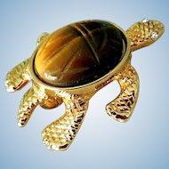 Vintage Scarab Tiger Eye Turtle Pin