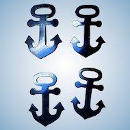 Early Set of 4 Black Anchor Pins, Celluloid