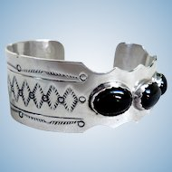Vintage Sterling Silver & Onyx Bracelet, Native American Made