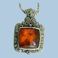 Sterling Silver, Amber & Marcasite Necklace, with Moth or Butterfly