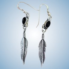 Vintage Native American Sterling Silver & Onyx Feather Earrings