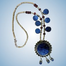 Vintage Nepal, Tibet, Hand-Made Lapis Necklace