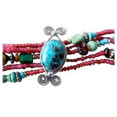Vintage Sterling Silver, Turquoise, Amber, Red Bead Bracelet