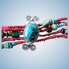 Vintage Sterling Silver, Turquoise, Amber, Red Bead Bracelet