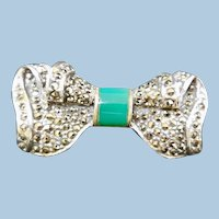 Vintage Sterling Silver, Marcasite, & Green Onyx Bow Pin