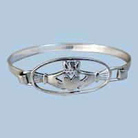 Vintage Sterling Silver Claddagh Irish Bracelet