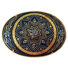 Vintage Damascene Brooch, Spain