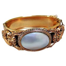Art Nouveau Bangle Bracelet with Mother of Pearl