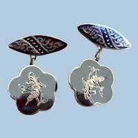 Early Siam Sterling Silver Cuff Links