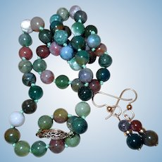 Vintage Agate, Quartz, Jade Necklace and Earrings