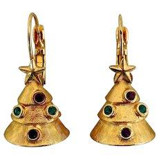Vintage Gold-Tone Christmas Tree Earrings
