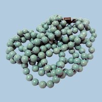 Early Enameled Flapper Beads Necklace, 54 Inches