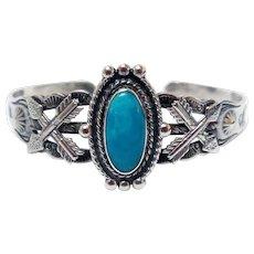 Vintage Native American Bracelet, Sterling & Turquoise