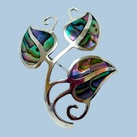 Vintage Sterling Silver & Abalone Brooch, Signed Beto, Mexico