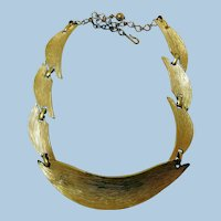 Vintage BSK Gold-Tone Textured Necklace