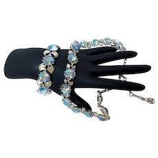 Coro Necklace & Bracelet Set, Blue Aurora Borealis