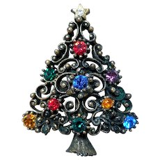 Early Rhinestone Christmas Tree Pin by JJ