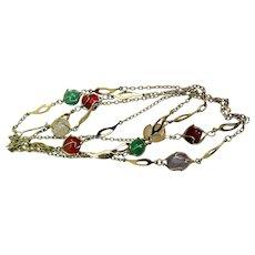 """Retro 1960s/70s Necklace, 48"""", Semi-Precious Gems"""