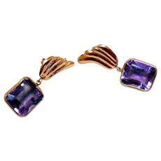 Vintage 14K Gold & Amethyst Earrings
