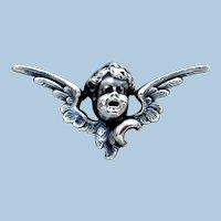 Victorian Sterling Silver Watch Pin, Angel Cherub
