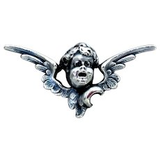 Victorian Sterling Silver Watch Pin, Angel Cherub