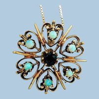Edwardian 14K Gold, Garnet, Opal Necklace