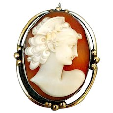 Beautifully Carved Shell Cameo in Gold Filled Setting