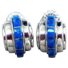 Vintage Native American Sterling & Lapis Lazuli Earrings