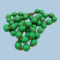 Vintage Green Glass Beads, 30 Inch Necklace