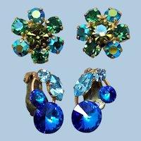 Vintage Fine Austrian Rhinestone Earrings, 2 Pair