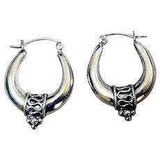 Vintage Sterling Silver Puffy Hoop Earrings