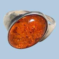 Vintage Sterling Silver & Amber Ring