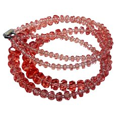 Fabulous Peachy Crystal Double Strand Necklace