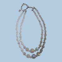 Mid-Century Aurora Borealis Crystal Necklace