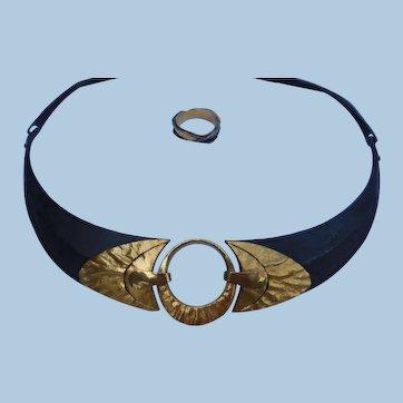 Fabulous 24K, 18K, & Iron Necklace & Ring, by Barbro Ulander