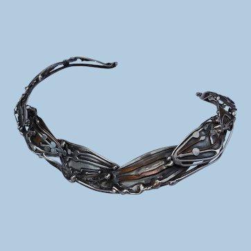 Brutalist Mixed Metal Statement Necklace, Choker