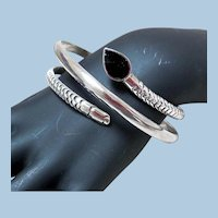 Vintage Sterling Silver & Onyx Wrap-Around Snake Bracelet