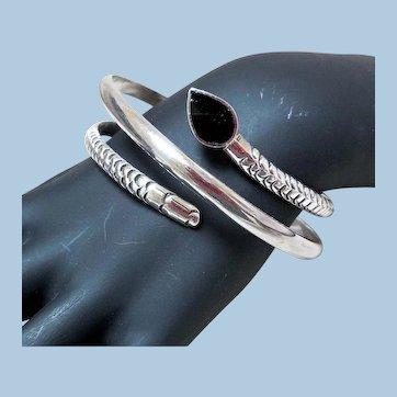 Vintage Sterling Silver & Onyx Wrap-Around Snake Bracelet