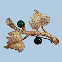 Vintage Brooch, Jade, by Hobe