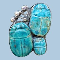 Antique Arts & Crafts Scarab Ring, Rare 3 Scarabs!
