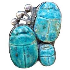 Antique Arts & Crafts Scarab Ring, Rare 3 Scarabs!