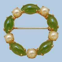 Vintage Sorrento Circle Pin, Jade & Pearl