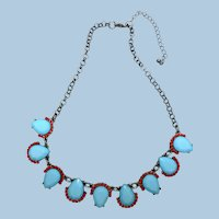 Colorful Lucite Necklace, Choker, Silver-Tone Metal