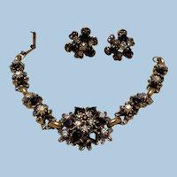 Fabulous Rhinestone Bracelet & Earrings, Early 20th Century