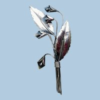 Sterling Silver Calla Lily Brooch, 1940s