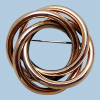 Vintage Triple Interlocking Circle Brooch, Signed JL