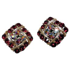Red Rhinestone Clip Earrings by Lisner, Holiday Pizzazz!